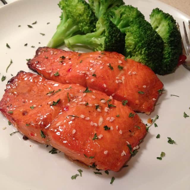 Broiled Salmon with Thai Sweet Chili and Broccoli