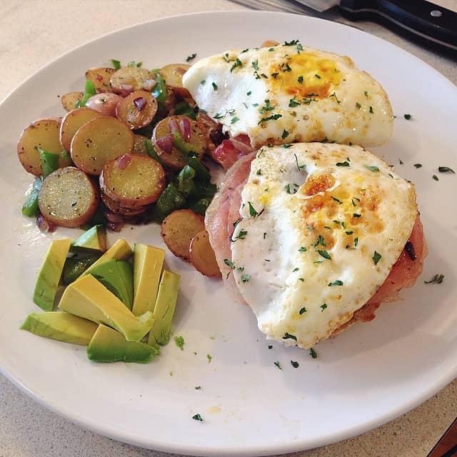 Eggs Benedict with Avocado and Potatoes
